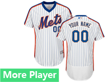 Mens Majestic New York Mets White Stripe Pullover Flex Base Current Player Jersey