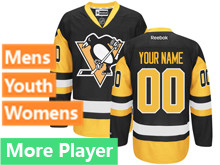 Mens Women Youth Reebok Pittsburgh Penguins Black Premier Current Player Jersey
