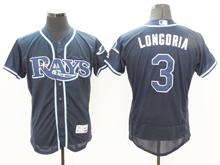 mens majestic tampa bay rays #3 evan longoria navy Flex Base jersey