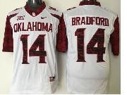 Mens NCAA NFL Oklahoma Sooners #14 Bradford WHITE JERSEY