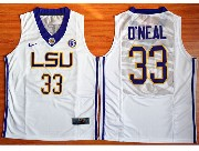 Mens Ncaa Nba Lsu Tigers #33 Shaquille O'neal White Basketball Elite Jersey