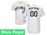Mens Majestic Milwaukee Brewers White Stripe Flex Base Current Player Jersey