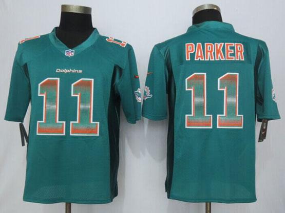 Mens Nfl Miami Dolphins #11 Devante Parker Green Strobe Limited Jersey