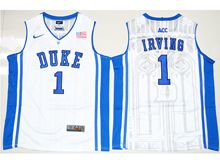 Mens Ncaa Nba Duke Blue Devils #1 Kyrie Irving White Elite (v Neck) Jersey