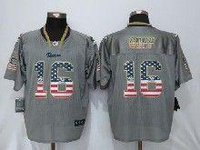 Mens Nfl New   St.louis Rams #16 Jared Goff Gray Usa Flag Fashion Elite Jerseys