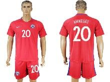 mens soccer chile national team #20 meneses red home 2016 copa america Suit Jersey