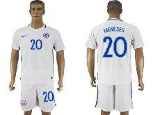 mens soccer chile national team #20 meneses white away 2016 copa america Suit Jersey