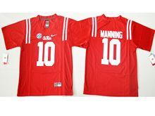 Mens Ncaa Nfl Ole Miss Rebels #10 Eli Manning Red College Alumni Jersey