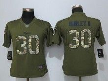 Women    Los Angeles Rams #30 Todd Gurley Green Salute To Service Limited Jersey