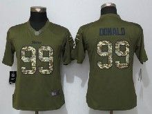 Women  Nfl   St. Louis Rams #99 Aaron Donald Green Salute To Service Limited Jersey
