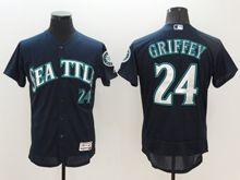 Mens Majestic Seattle Mariners #24 Ken Griffey Jr Navy Blue Flex Base Jersey