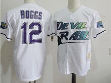 Mens Mlb Tampa Bay Devil Rays #12 Wade Boggs White Jersey