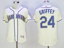 Mens Majestic Seattle Mariners #24 Ken Griffey Jr Creamy Cream Flex Base Jersey