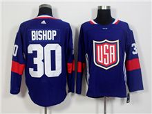 Mens Team Usa #30 Ben Bishop Blue 2016 World Cup Hockey Jersey
