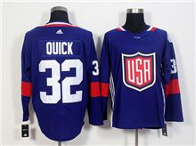 Mens Team Usa #32 Jonathan Quick Blue 2016 World Cup Hockey Jersey