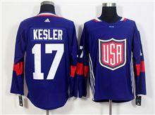 Mens Team Usa #17 Ryan Kesler Blue 2016 World Cup Hockey Jersey