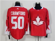 Mens Team Canada #50 Corey Crawford Red 2016 World Cup Hockey Jersey