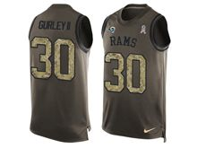 mens   los angeles rams #30 todd gurley ii Green salute to service limited tank top jersey