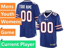 Mens Women Youth Nfl Buffalo Bills Blue Game Current Player Jersey