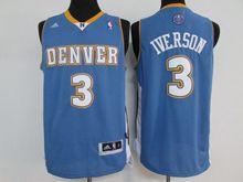 Mens Nba Denver Nuggets #3 Allen Iverson Light Blue Throwback Jersey