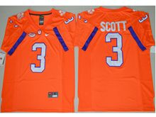 Mens Ncaa Nfl Clemson Tigers #3 Artavis Scott Orange Limited Jersey