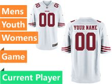 Mens Women Youth Nfl San Francisco 49ers White Game Current Player Jersey