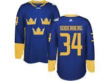 Mens Nhl Team Sweden #34 Carl Soderberg Blue 2016 World Cup Hockey Jersey