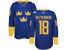 Mens Nhl Team Sweden #18 Jakob Silfverberg Blue 2016 World Cup Hockey Jersey