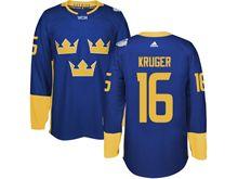 Mens Nhl Team Sweden #16 Marcus Kruger Blue 2016 World Cup Hockey Jersey
