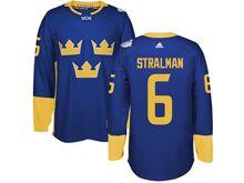Mens Nhl Team Sweden #6 Anton Stralman Blue 2016 World Cup Hockey Jersey