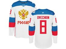 Mens Nhl Team Russia #8 Alex Ovechkin White 2016 World Cup Hockey Jersey