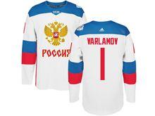Mens Nhl Team Russia #1 Semyon Varlamov White 2016 World Cup Hockey Jersey