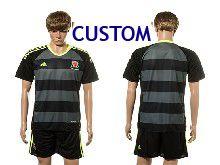 Mens Soccer Wales Natioal Team Custom Black Eurocup 2016 Away Jersey