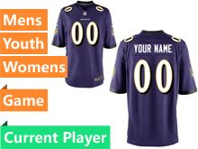 Mens Women Youth Nfl Baltimore Ravens Purple Game Current Player Jersey