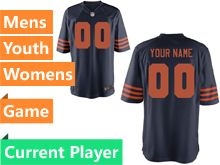 Mens Women Youth Nfl Chicago Bears Blue Alternate Game Current Player Jersey