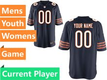 Mens Women Youth Nfl Chicago Bears Blue Game Current Player Jersey