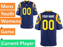 Mens Women Youth Nfl Los Angeles Rams Royal Blue Game Current Player Jersey