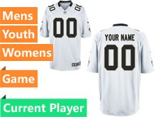Mens Women Youth Nfl New Orleans Saints White Game Current Player Jersey