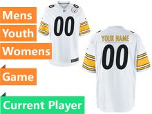 Mens Women Youth Nfl Pittsburgh Steelers White Game Current Player Jersey