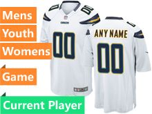 Mens Women Youth Nfl Los Angeles Chargers White Game Current Player Jersey