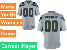 Mens Women Youth Nfl Seattle Seahawks Gray Game Current Player Jersey