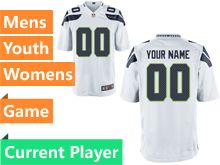 Mens Women Youth Nfl Seattle Seahawks White Game Current Player Jersey