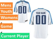 Mens Women Youth Nfl Tennessee Titans White Game Current Player Jersey