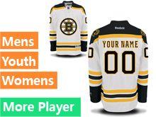 Mens Women Youth Reebok Boston Bruins White Away Premier Current Player Jersey