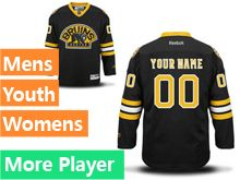 Mens Women Youth Reebok Boston Bruins Black Alternate Premier Current Player Jersey