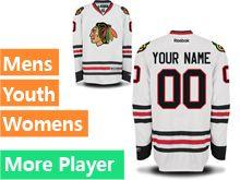 Mens Women Youth Reebok Chicago Blackhawks White Away Premier Current Player Jersey