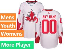 Mens Women Youth Adidas Team Canada White 2016 World Cup Hockey Jersey