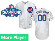 Mens Majestic Chicago Cubs White Stripe 2016 World Series Champions Flex Base Current Player Jersey