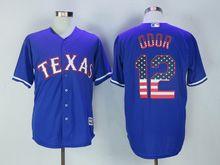 Mens Majestic Texas Rangers #12 Rougned Odor Blue Usa Flag Jersey