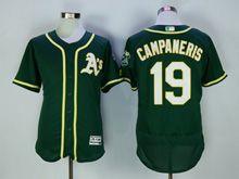 Mens Majestic Mlb Oakland Athletics #19 Campaneris Green Flex Base Jersey